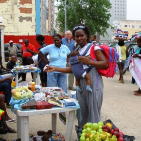 2011-04-01 Angola, Luanda – Vendors outside the cathedral. Like most poor African countries, Angola has an extensive hidden economy which keeps most people fed and clothed.