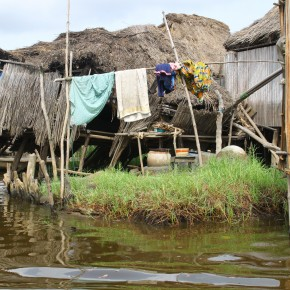 2011-04-07 Benin, Granvie Village - Lake Nokue - a house in the village with a small patch of soil built up. The village is on stilts in the middle of the shallow lake established here in the past by people fleeing slavers