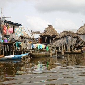 2011-04-07 Benin, Granvie Village -  Lake Nokue - the village is on stilts located here sometime in the past when people were fleeing slaving