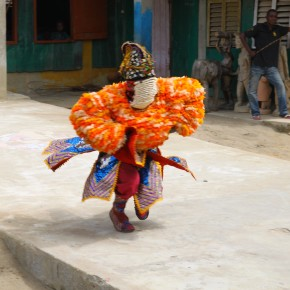 2011-04-07 Benin, Granvie Village in Lake Nokue - Voodoo dancing - Voodoo is a religion here not associated with anything evil, malicious or sinister. Based on the worship of natural forces humans try to control and adjust those forces to their favor by p