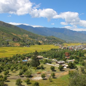 2011-10-01 Bhutan, Chhu Paro Valley with rice paddies at the bottom.