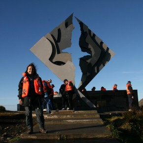 2009-01-29 Chile, Cape Horn, Olga at the Cape Horn Monument