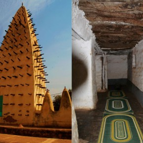 2009-1-19 Bobo Dioulasso, interior of the mud brick (adobe) mosque in the center of the city
