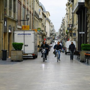 2010-05-004 Bordeaux, France, the city was originally settled by Romans and some of the streets like this one, still retain the square straight patterns-of-Bordeaux,-France
