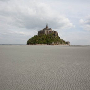 2010-05-07 Mont St. Michel, France an exquisite monastery built on a stone outcrop - view across salt flats