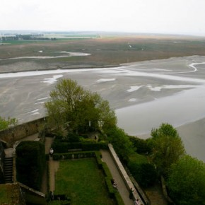 2010-05-07 Mont St. Michel, France, view from the top across the salt flats at low tide