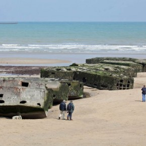 2010-05-09 Arromanches Normandy, France, the remains of the allied prefab Mulberry harbor built by English and Welsh troops in WWII