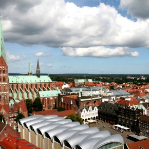 2010-09-01 Germany, , Lübeck - View of St. Mary's basilica from St. Peter's tower