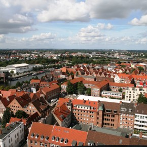 2010-09-01 Germany, Lübeck - View of the old Hanseatic town from the tower of St. Peter's church