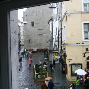 2010-09-11 Estonia, Tallinn - looking out the window of the wine restaurant toward the City Hall in the rain
