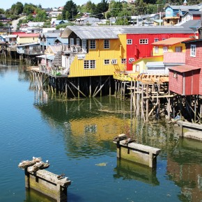2011-01-01 Chile, Chiloé Island, Castro - Palafito houses on stilts of fishermen open out to the original access channel into the town. They are now used as classy quaint hotels