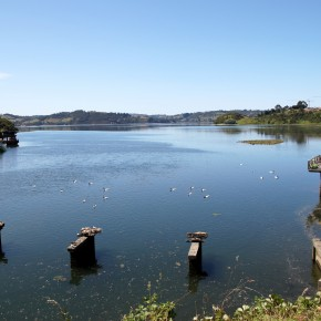 2011-01-01 Chile, Chiloé Island, Castro - the original channel into Castor let to the Palafito fishing village of picturesque houses on stilts which seem rather delicate; the remains of an old bridge can be seen in the foreground