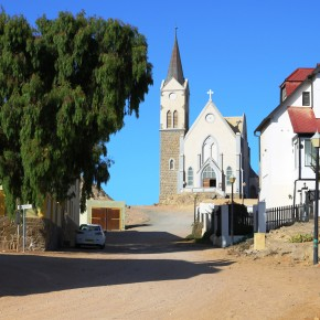 2011-03-27 Namibia, Luderitz, the church was built on the higest hill and served the German settlers