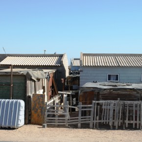 2011-03-27 Namibia, Swakopmund, views of a township near the town. The township is getting a face lift with cement houses replacing the zinc shacks, paved streets, and other amenities