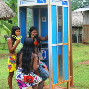 Panama, Darien, Moque Village 2008-10-21 - a telephone booth connects this remote village to the outside world