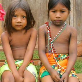 Panama, Darien, Moque Village 2008-10-21 - two little  Emberá girls dressed up in brand new cloth for our visit