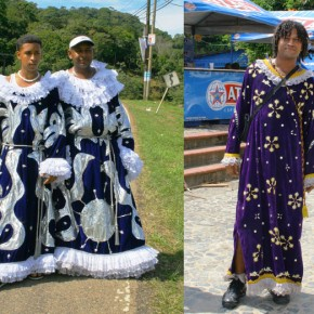 Panama, Portobelo 2008-10-20 - Several pilgrims posed for me in their purple robes. The pilgrimage takes days on foot with no supplies. People donate food and shelter along the way. Tonight they will party, drink and enjoy.