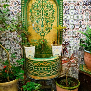 Typical fountain in tea shop in Tetouan Medina