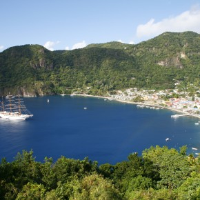 2008-12-31 Soufriere, St. Lucia - The Sea Cloud II in Sourfirere Bay which is the caldera of a sunken volcano