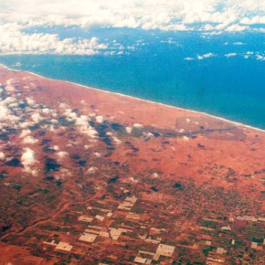 2009-01-17 Flying over the Atlantic and the African coast on the way to Ouagadougou