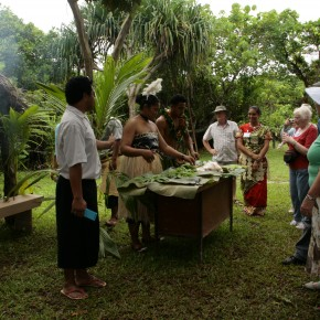 2009-02-11 Tonga, Nuku'alofa Tonga Cultural Center cooking demonstration using an earth oven, hot rocks and banana leaves