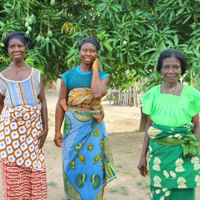 2011-04-08 Togo, Ewe Village - Three women in the village with a mango tree behind them