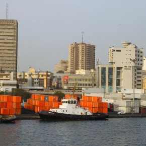 2011-04-16 Senegal, Dakar - the city skyline from the ship when we docked at the end of our voyage