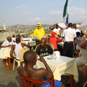 222011-04-13 Sierra Leone, Freetown - having soft drinks after the soccer game by amputee victims of the civil wars