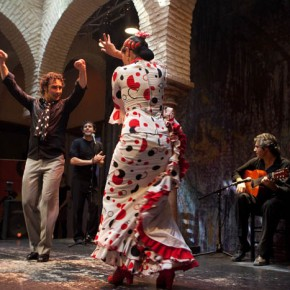 Flamenco performance at the Institute of Flamenco, Seville, both dancers