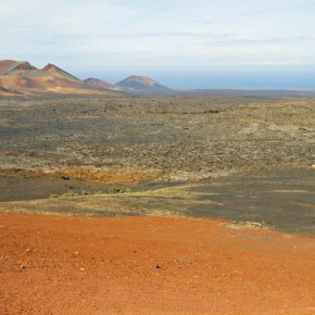 Volcanic deposits cover the southern part of Lanzarote at Timanfaya National park